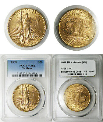 1908 P $20 USA Double Eagle St. Gaudens Gold PCGS MS62 No Motto