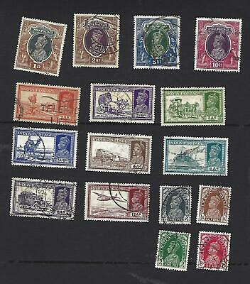 India 1937, George Vi. Pictorial Definitive Set Of 16 Stamps To 10 Rupees. Vgu