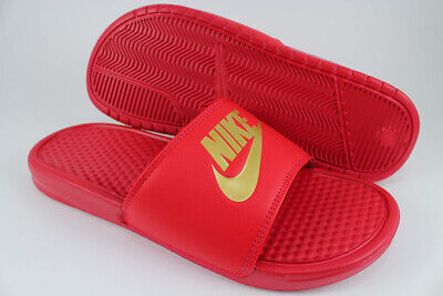 Nike Benassi Jdi Red/Gold Metallic Sport Sandals Slides Swoosh Us Mens Sizes