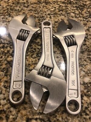 "New 4"" Stanley PROTO TOOLS 704 Silver 4mm Adjustable Crescent Wrench USA"