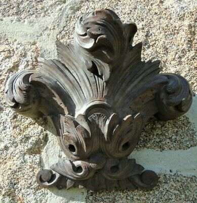 French-Vintage-Antique-Pediment-Fronton-Plaque-Wooden-Carved-Acanthus Hardwood