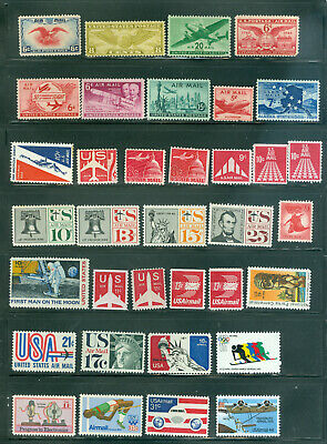 US Airmail Stamps -Mixed Lot of 35 Different - Mint NH -- Free Shipping
