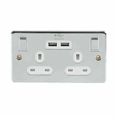 Chrome Double Wall Plug Socket 2 Gang 13A with 2 USB Charger Port Outlets Plate