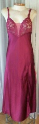 Victorias Secret S Maroon Long Nightgown Slit Gown Woman Lace Small Dark Red VTG