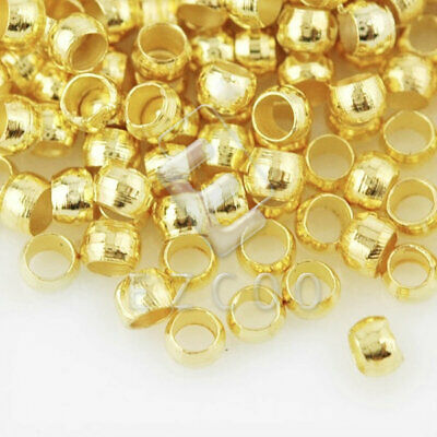 20g(1200pcs) Crimp End Beads Round Gold Jewelry Findings 2x2mm YBCP0001