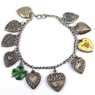 Antique Puffy Heart Charms Bracelet Enamel Sterling