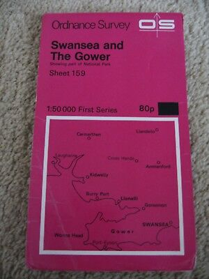Vintage Ordance Survey Map Swansea and The Gower Sheet 159 0S First Series 1970s