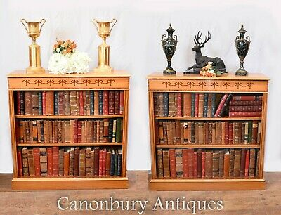 Pair Regency Bookcases - Satinwood Open Front Sheraton Inlay