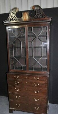 George III Bookcase - Antique Mahogany Bureau Desk Bookcases