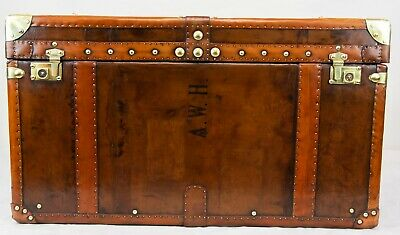 Steamer Trunk Chest - Leather Luggage Case Coffee Table