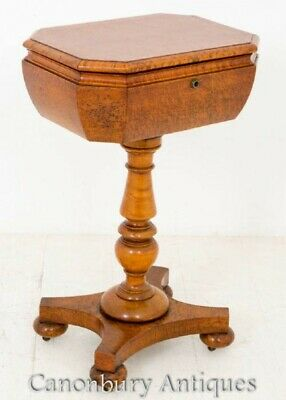 Antique Victorian Teapoy - Burr Walnut 1860