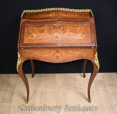 French Empire Antique Ladies Desk Bureau Marquetry Inlay