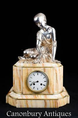 Empire Mantel Carriage Clock Onyx and Silver Plate Female Figurine