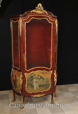 Antique Vitrine Display Cabinet - French Bijouterie Vernis Martin Paintings Kauf