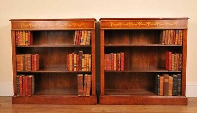 Pair Sheraton Bookcases - Walnut Low Open Front Bookcase