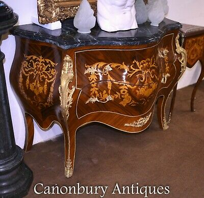 Pair French Bombe Commodes Marquetry Inlay Louis XVI Chests