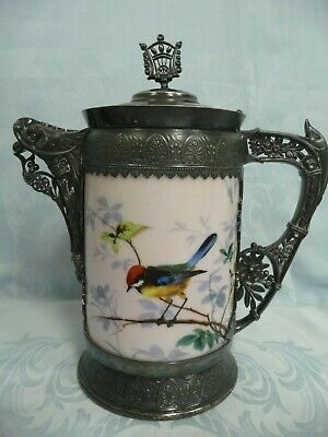Antique Simpson Hall & Miller Quadruple Plate & Porcelain Water Pitcher
