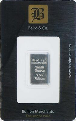 Baird Mint 1/10 oz .9995 Fine Platinum Bar In Assay