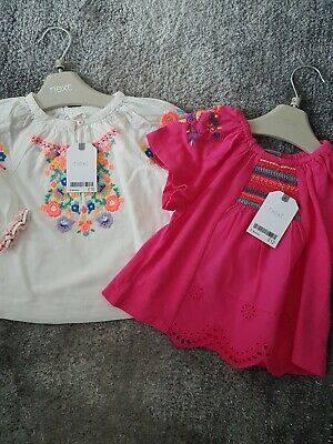 Two Baby Girl Next Tops Age 6-9Mths Bnwt