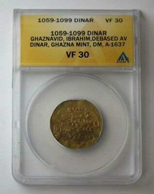 1059-99 Arab Empire Gold Dinar Ghaznavid ANACS VF 30 #75964JR