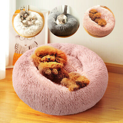 Pet Puppy Dog Cat Calming Bed Warm Comfy Plush Nest Sleeping Kennel Cage Cushion