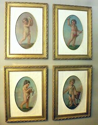 Four Late 18th Early 19th Century French Oil Paintings ~Cherubs W/ Animals~