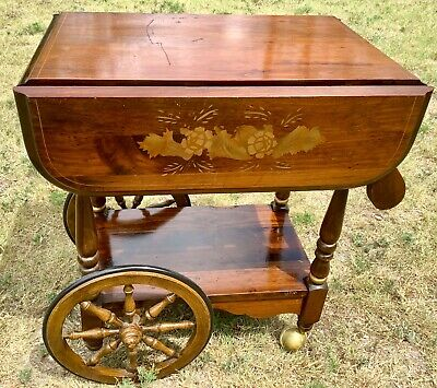 Vintage Rolling Drop Leaf Bar Tea Cart serving Trolley Wood wooden mid century