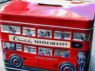 Churchill's Confectionery London Double Decker Bus Piggy Bank Collector's Tin