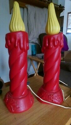 """2 Vintage Christmas 16"""" BECO PRODUCTS Blow Mold Lighted Candles"""