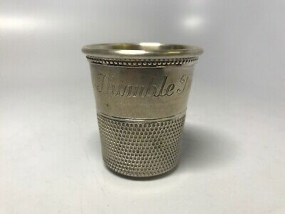 """Rare Sterling Silver 925 Thimble """"Only a Thimble Full"""" Shot Glass Jigger"""