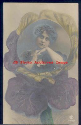 Novelty Postcard, RPPC, Photo of Woman in Heavily Embossed Pansy Flower