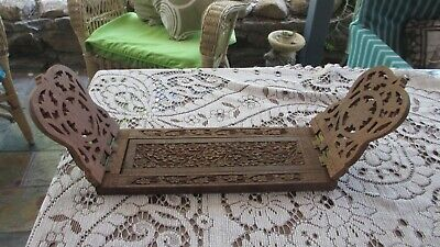 Vintage Hand Carved Wood Folding Expanding Book Ends Rack Made in INDIA ornate