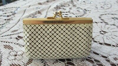 VINTAGE Beige Mesh unusual COIN PURSE IN G CONDITION Hong Kong