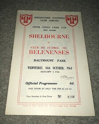 1964-65 SHELBOURNE V BELENENSES Inter Cities Fairs Cup 14-10-64