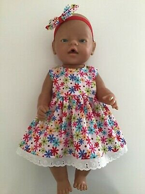 """DOLLS CLOTHES FOR 17"""" BABY BORN~CABBAGE PATCH *Bright Daisies~Dress~Headband*"""