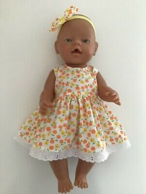 """DOLLS CLOTHES FOR 17"""" BABY BORN~CABBAGE PATCH *Orange & Yellow~Dress~Headband*"""