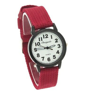 Student Watch Boy Girls Fabric Nylon Strap Quartz Casual Wristwatch U92R