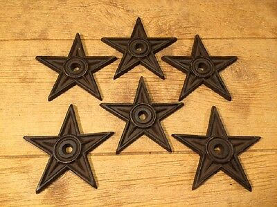"Cast Iron Center Hole Star Anchor Plates Large 6 1/2"" wide (Set of 6) 02106"