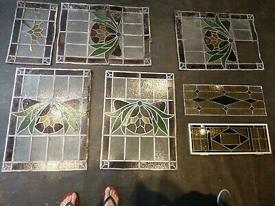 Antique Lead Glazed Stained Glass Window Panels from famous Shakespeare Durham
