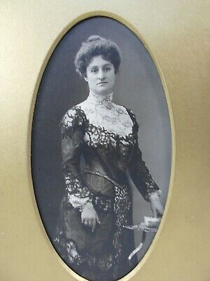 "Lovely Antique Photo Woman in Great Victorian Lace Dress Oval Gold Matte 5"" x 7"""