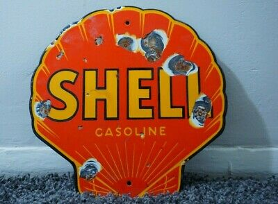 Vintage Shell Gasoline Porcelain Sign Gas Oil Metal Station Pump Plate Clam