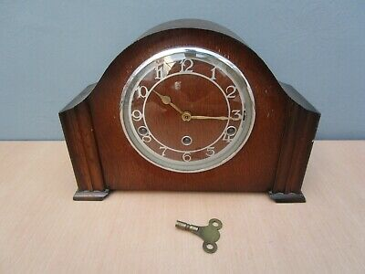 Vintage Wooden Garrard Westminster Chime Mantle Clock With Key