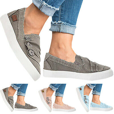 Womens Canvas Slip On Summer Casual Flat Trainers Loafers Comfort Pumps Shoes