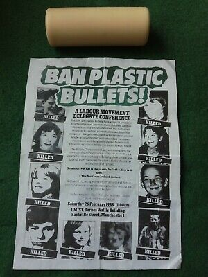 Original 1980s Fired Rubber Bullet & Copy Leaflet.
