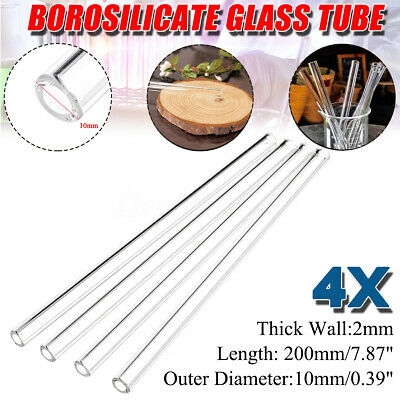 4Pcs 200mmx10mm x2mm Thick Wall Tubing Pyrex Borosilicate Lab Glass Blowing Tube
