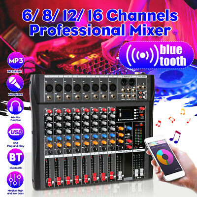 6/8/12/16 Channels 48V bluetooth Pro Live Studio Audio Mixer USB Mixing