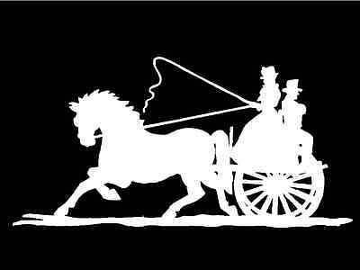 Horse drawn Carriage Decal Wagon Old Time Buggy Vinyl Car Window Sticker