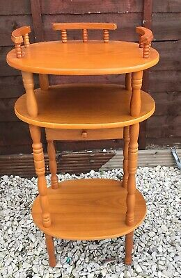 Vintage Retro Small Wooden Shelf Unit Side Table Plant Stand With Draw