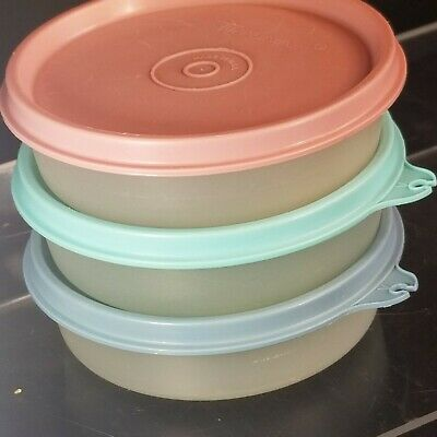 3 Vintage TUPPERWARE sheer SNACK BOWLS Pastel Seals #315-54, 55, 56