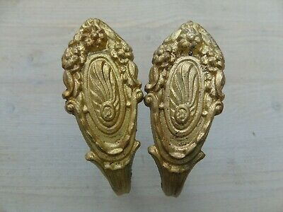Vintage French Tieback Hooks Gilt Bronze Ormolu Curtain Tassel Holders Elegant